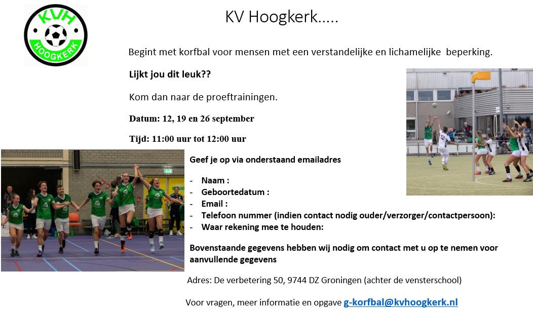 G-Korfbal Proeftraining @ KV Hoogkerk